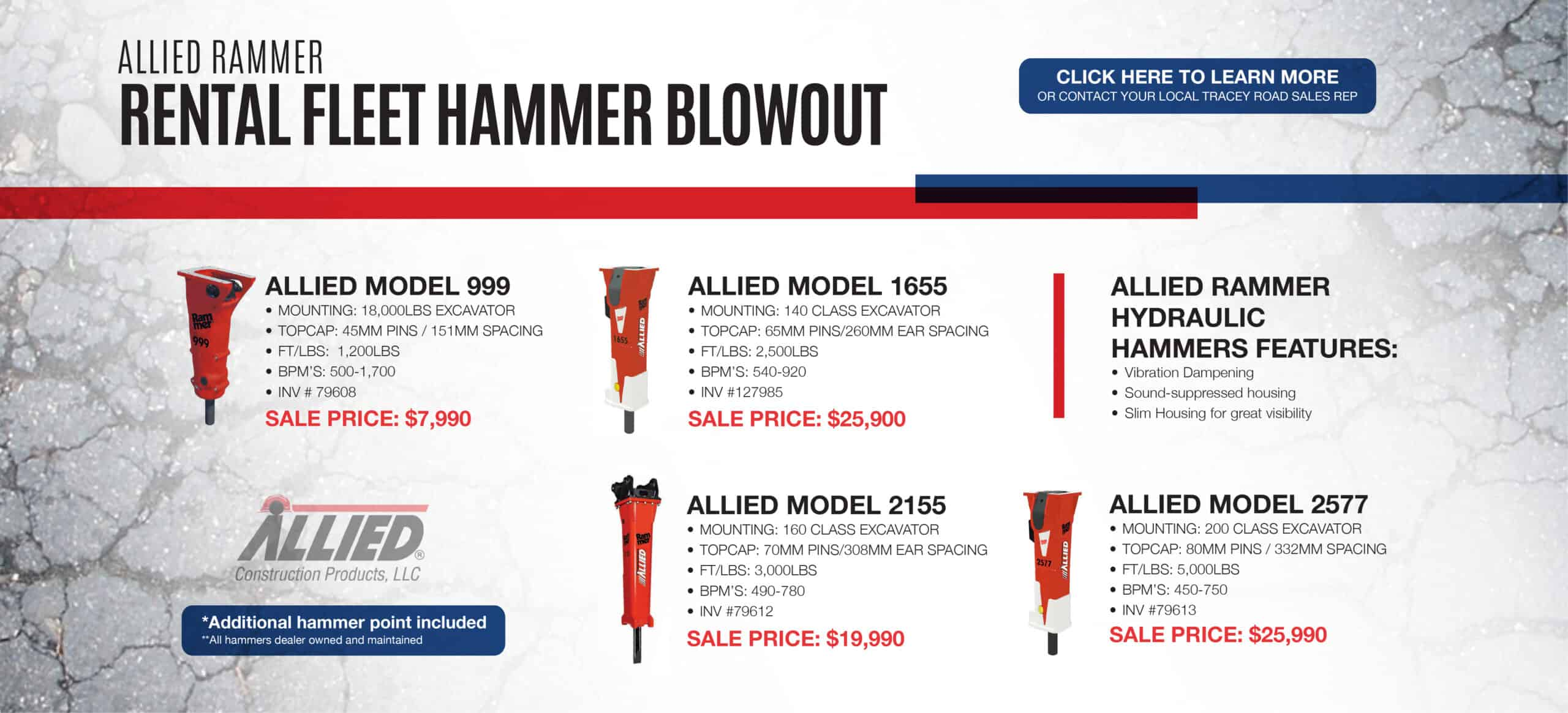 Allied Hammers for Sale   Tracey Road Equipment   Construction Equipment Attachments for Sale